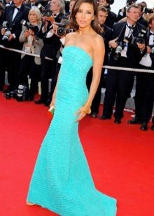 Vestido longo turquesa brilhante