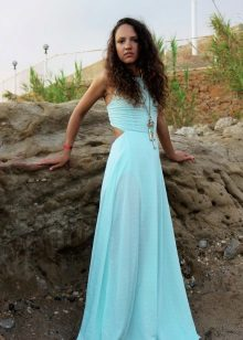 Vestido turquesa claro suave