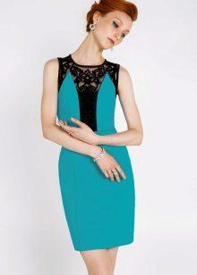 Vestido turquesa com preto