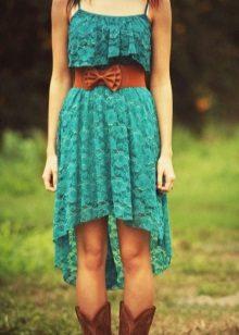 Vestido de renda turquesa