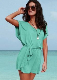 Cor turquesa vestido-túnica