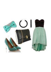 Vestido preto turquesa e acessórios