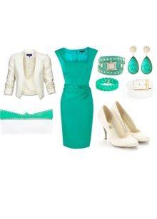 Acessórios de vestido branco turquesa
