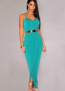 Vestido de verão longo turquesa