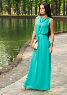 Vestido turquesa longo de verão