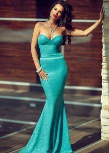 Evening vestido turquesa brilhante longo