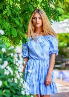 Blue checkered dress in country style