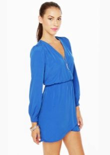 Blue dress na may sleeves