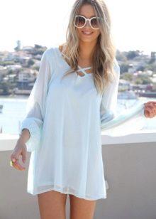 Long sleeves in a blue dress