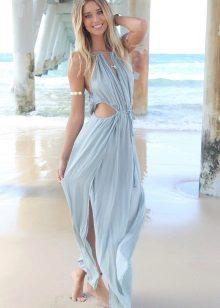 Lange jurk in blauw