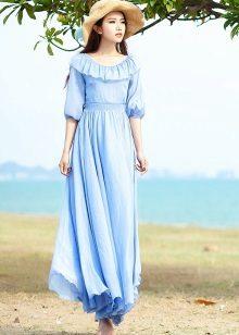 Lange blauwe jurk