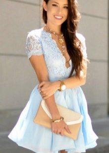 Blauwe zachte korte jurk
