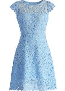 Blue evening dress na may sleeves