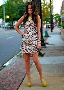 Sarı Leopar Elbise Ayakkabı