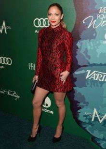Leopar desenli bordo elbise Jennifer Lopez
