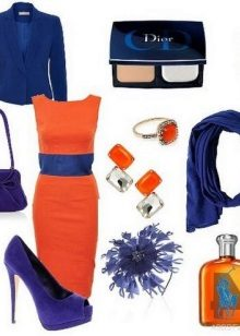 Orange damit na may asul na accessories