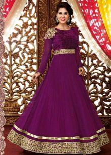 Golden color on eggplant dress