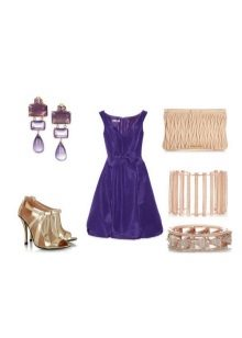 Neutral accessories to eggplant dress