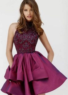 Eggplant dress with guipure top in the same color