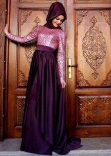 Eggplant dress in combination with pink