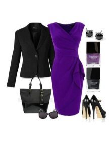 Eggplant dress in combination with black