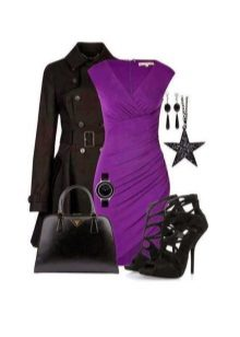 Eggplant dress with black accessories