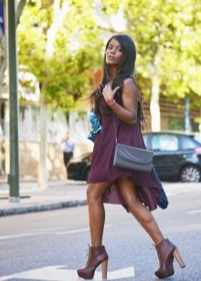 Eggplant Chiffon Dress with Brown Shoes