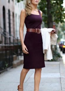 Eggplant dress with brown strap and shoes