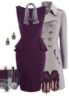 Eggplant dress and gray coat