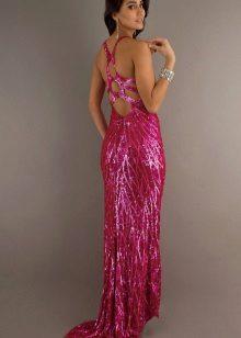 Long dress fuchsia unusual cut of sequins