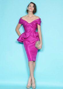 Brunette in a fuchsia dress