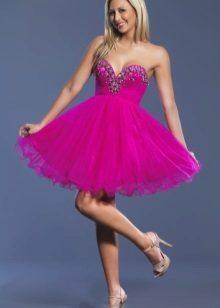 Blonde in a fuchsia dress
