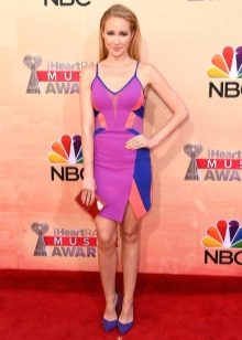 Fuchsia dress in combination with blue inserts and blue shoes