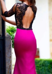 Fuchsia dress with black lace top