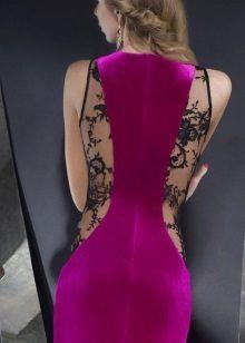 Fuchsia dress with black