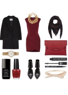 Dress marsala mustilla lisävarusteilla