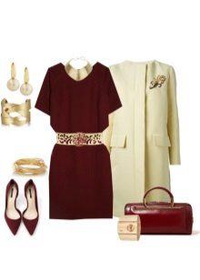 Marsala-mekko ja asusteet