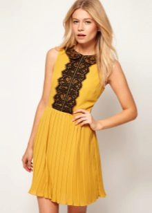Mustard dress with black lace