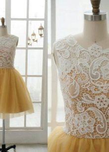 White lace on mustard dress