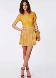Mustard dress with lace top