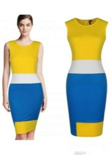 Mustard dress with blue