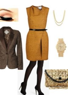 Mustard dress with black shoes and black tights