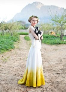 White and mustard dress with gradient