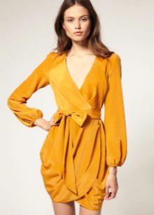 Mustard dress for brunettes