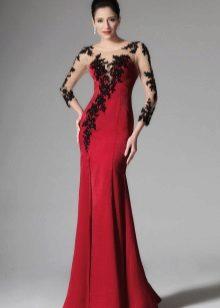 Crimson dress with black lace
