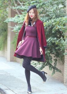 Crimson dress and coat to it
