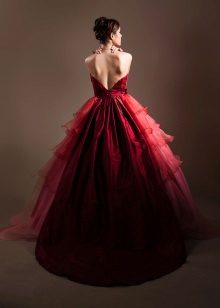 Beautiful crimson dress of a dark shade