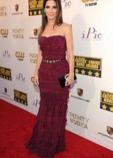 Evening long burgundy dress