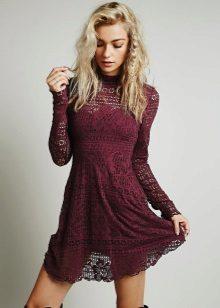 Short lace dress wine color