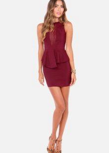 Short wine-colored sheath dress